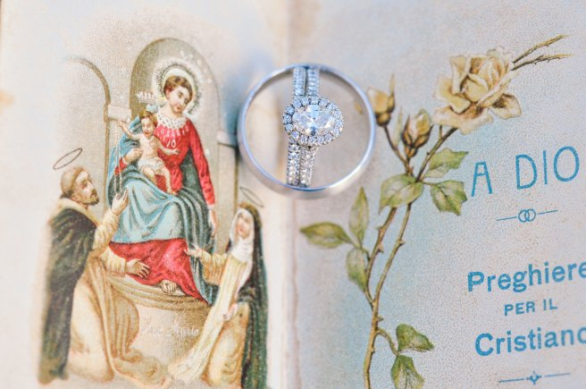"""Our rings in a prayer book that my great-grandmother brought over from Italy (my """"something old"""")"""